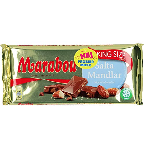 Marabou Salta Mandlar 220g - Milk Chocolate with Toasted, caramelized, Salted Almond Pieces von Marabou