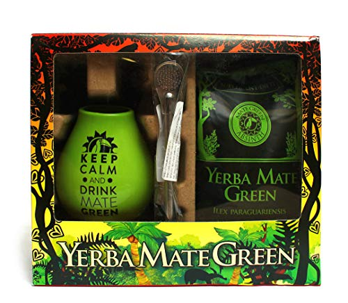"Mate Green Absinth Set | Ceramic Gourd ""Keep Calm and Drink Mate Green"" logo (Green) 