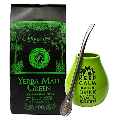 "Mate Green Absinth Set | Ceramic Gourd ""Keep Calm and Drink Mate Green"" logo 