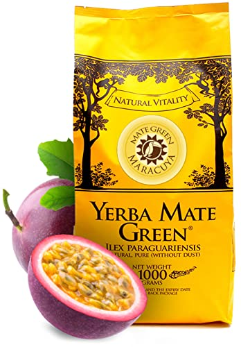Mate Green Yerba Mate Green 'Maracuya' 1 kg, Yerba Mate from Brazil, Rich and Deep Flavor, Maracuya, Devil's Claw and Cloves, Strong Mate Tea von Mate Green