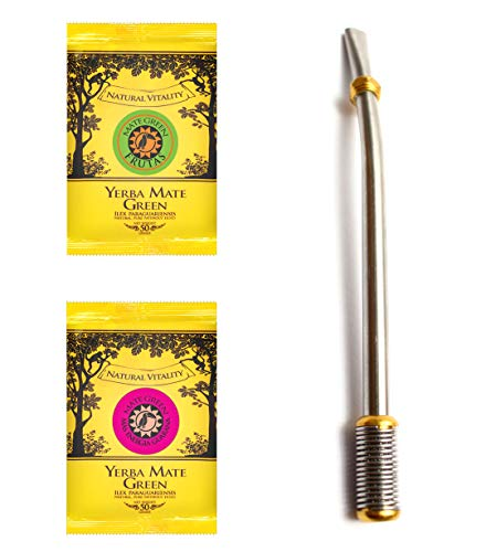 Mate Green Yerba Mate Green with bombilla, silver and gold, 16.5 cm, 200 g von Mate Green