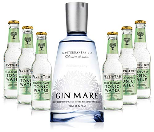 Gin Tonic Set - Gin Mare 0,7l 700ml (42,7% Vol) + 6x Fever Tree Elderflower Tonic Water 200ml - Inkl. Pfand MEHRWEG von Mixcompany.de Bar & Glas