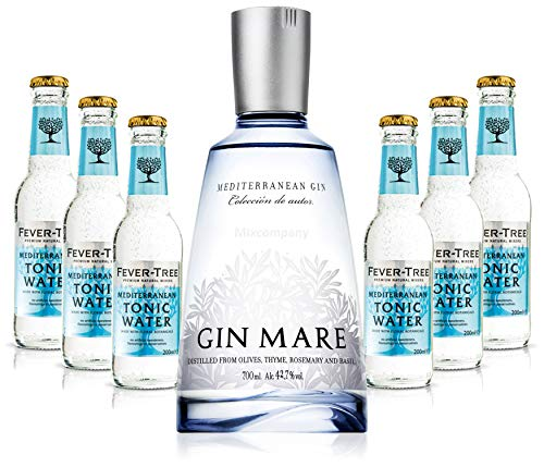 Gin Tonic Set - Gin Mare 0,7l 700ml (42,7% Vol) + 6x Fever Tree Mediterranean Tonic Water 200ml - Inkl. Pfand MEHRWEG von Mixcompany.de Bar & Glas
