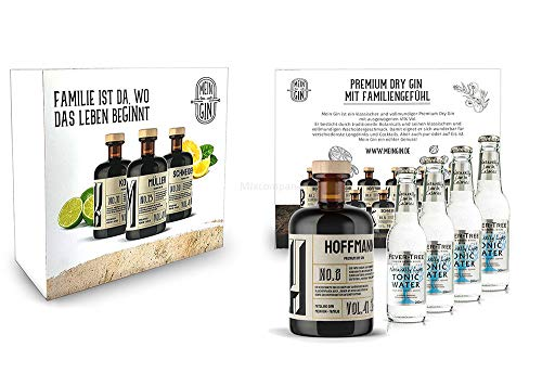 Mein Gin + Tonic Giftbox Geschenkset - Hoffmann Premium Dry Gin 0,5l (41% Vol) - Hoffmann s Gin No.8 + 4x Fever-Tree Naturally Light Tonic Water 200ml inkl. Pfand MEHRWEG -[Enthält Sulfite] von Mixcompany.de Bar & Glas