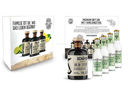 Mein Gin + Tonic Giftbox Geschenkset - Schäfer Premium Dry Gin 0,5l (41% Vol) - Schäfer s Gin No.19 + 4x Fever-Tree Elderflower Tonic Water 200ml inkl. Pfand MEHRWEG -[Enthält Sulfite] von Mixcompany.de Bar & Glas