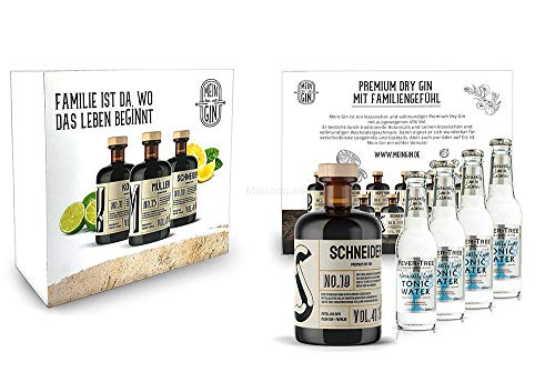 Mein Gin + Tonic Giftbox Geschenkset - Schneider Premium Dry Gin 0,5l (41% Vol) - Schneider s Gin No.19 + 4x Fever-Tree Naturally Light Tonic Water 200ml inkl. Pfand MEHRWEG -[Enthält Sulfite] von Mixcompany.de Bar & Glas