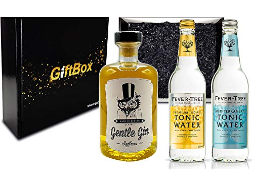 Gin Tonic Geschenkset - Gentle Gin Saffron 0,5l (40% Vol) + 1x Fever-Tree Indian Tonic + 1x Fever-Tree Mediterranean Tonic a 500ml inkl. Pfand MEHRWEG von Mixcompany.de Bar & Glas