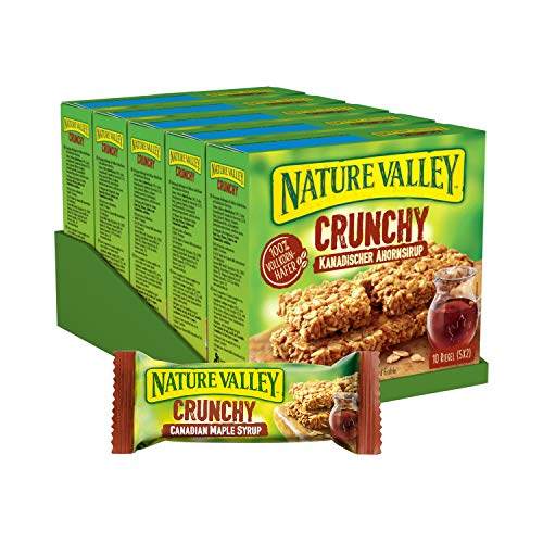 Nature Valley Crunchy Kanadischer Ahornsirup, Müsliriegel, 5er Pack (5 x 210g Multipack mit je 10 Riegeln) von Nature Valley