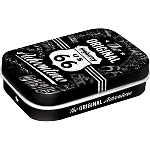 Nostalgic-Art 81335 - Highway  66 The Original Adventure | Pillen-Dose | Bonbon-Box | Metall | mit Pfefferminz-Dragees von Nostalgic-Art