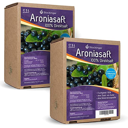 2 x 5L Obsthof Stockinger Aronia Muttersaft Bag in Box Aroniasaft, Sparpaket von Obsthof Stockinger