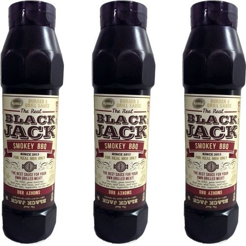 The Real Black Jack Barbecue Sauce Smokey BBQ 3 Flaschen á 750ml (Grill-Sauce) von Remia
