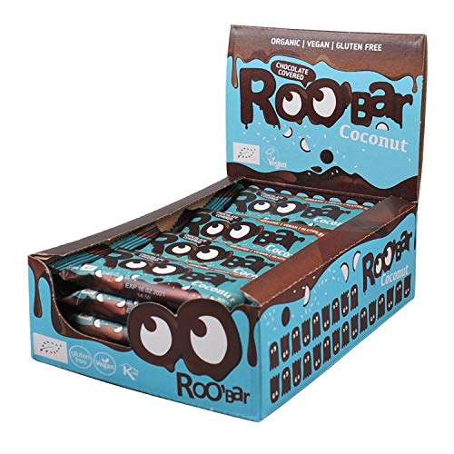 Roobar Chocolate Covered Coconut Bar with Organic & Vegan Ingredients for Gluten&Dairy Free experience, 16x30g in a box, 480 g von Roo'Bar