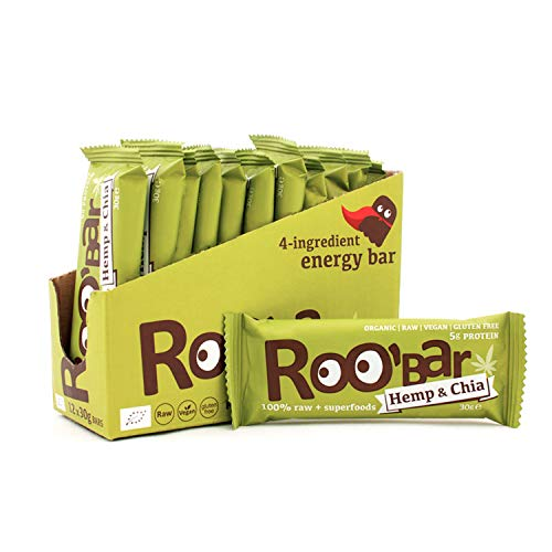Roobar Superfoods Hemp Protein Bar with Organic & Vegan Ingredients for Gluten & Dairy Free experience, 12 x 30g in a box, 360 g von Roo'Bar