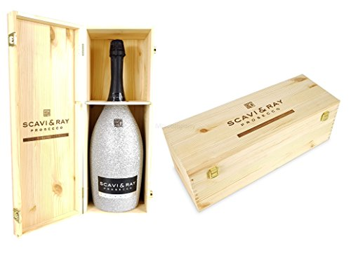 Scavi & Ray Prosecco Spumante Magnum 3l (11% Vol) Bling Bling Glitzerflasche Silber + Holzbox Holzkiste -[Enthält Sulfite] von Scavi & Ray