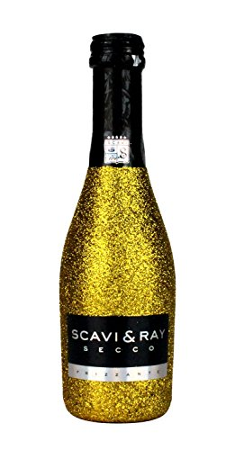 Scavi & Ray Secco Frizzante Piccolo 0,2l (10,5% Vol) Bling Bling Glitzerflasche in gold -[Enthält Sulfite] von Scavi & Ray