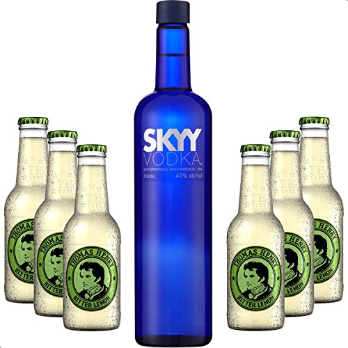 Vodka Lemon Set - Skyy Vodka 0,7l 700ml (40% Vol) + 6x Thomas Henry Bitter Lemon 200ml - Inkl. Pfand MEHRWEG von Thomas Henry-Thomas Henry