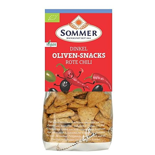 Sommer Dinkel Oliven-Snacks Rote Chili - Bio - 150g von SOMMER CABLE