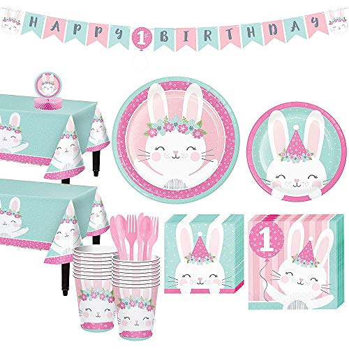 Birthday Bunny 1st Birthday Party Supplies Pack - Deluxe Party Kit For 16 von Stef Chef Party