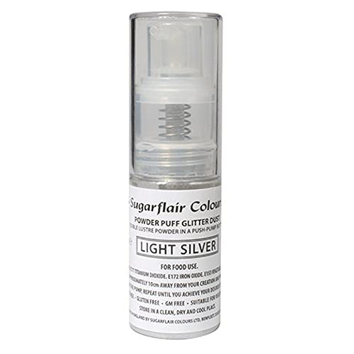 Sugarflair Powder Puff Glitter Nicht-Aerosol Spray - Kuchen Dekoration (Light Silver (Licht Silber)) von Sugarflair