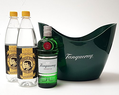 Gin Tonic Set - Tanqueray London dry Gin 0,7l 700ml (47,3% Vol) + 2x Thomas Henry Tnoic Water 1L + Flaschenkühler - Inkl. Pfand MEHRWEG von Thomas Henry-Thomas Henry