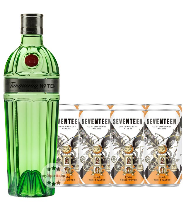Tanqueray No. Ten Gin & 8 x 1724 Tonic Water (47,3 % vol., 2,3 Liter) von Tanqueray