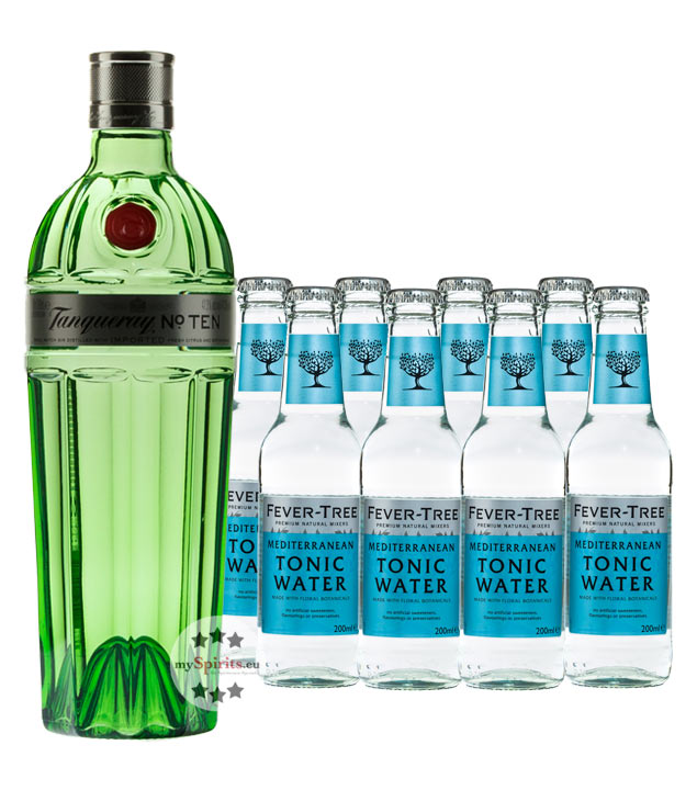 Tanqueray No. Ten Gin & 8 x Fever-Tree Mediterranean Tonic Water (47,3 % Vol., 2,3 Liter) von Tanqueray