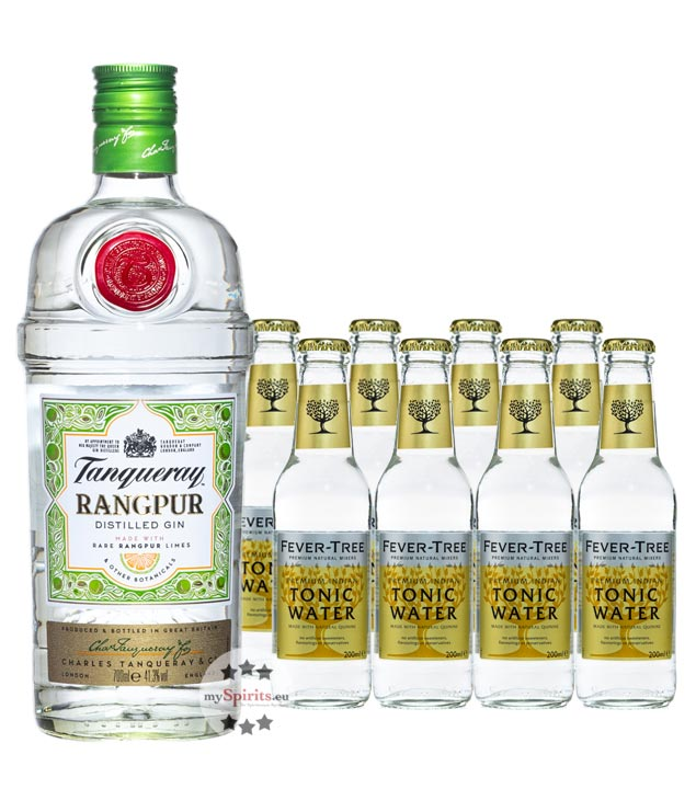 Tanqueray Rangpur Gin & 8 x Fever-Tree Indian Tonic Water (41,3 % Vol., 2,3 Liter) von Tanqueray