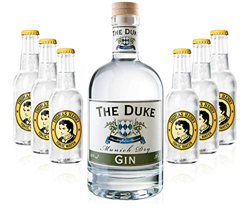 Gin Tonic Set - The Duke Munich Dry Gin 0,7l 700ml (45% Vol) + 6x Thomas Henry Tonic Water 200ml inkl. Pfand MEHRWEG von Thomas Henry-Thomas Henry