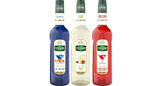 Teisseire Sirup Set French Sirop : Sirup le Blue (curacao) + Anis + Kandierter Apfel - 2 x 700ml + 1 x 1L von The Sirop Shop