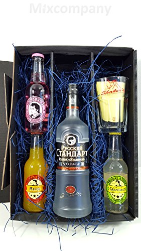 Russian Standard Vodka Cocktail Set / Geschenkset ? Russian Standard Vodka 0,7l 700ml (40% Vol) + Thomas Henry Grapefruit Lemonade,Mango Lemonade & Cherry Blossom Tonic, je 200ml + Shakers Glas geeicht 4cl - Inkl. Pfand MEHRWEG von Thomas Henry-Thomas Henry