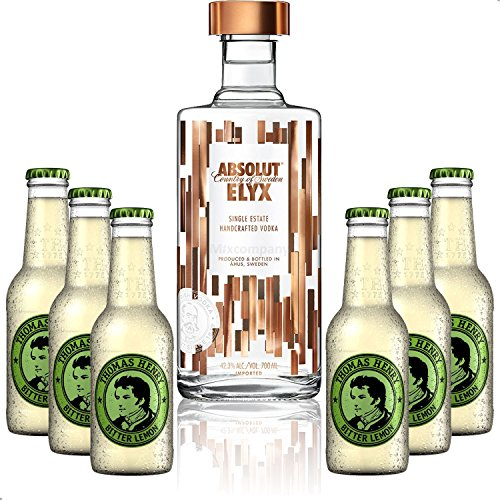 Vodka Lemon Set - Absolut Elyx Vodka 0,7l 700ml (42,3% Vol) + 6x Thomas Henry Bitter Lemon 200ml - Inkl. Pfand MEHRWEG von Thomas Henry-Thomas Henry