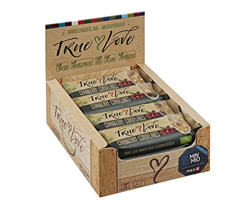 TRUE LOVE Bio-Cranberry-Cornflakes-Naturriegel, Müsliriegel, 12 Stück Packung, 12 x 34g, Müsliriegel von True Love