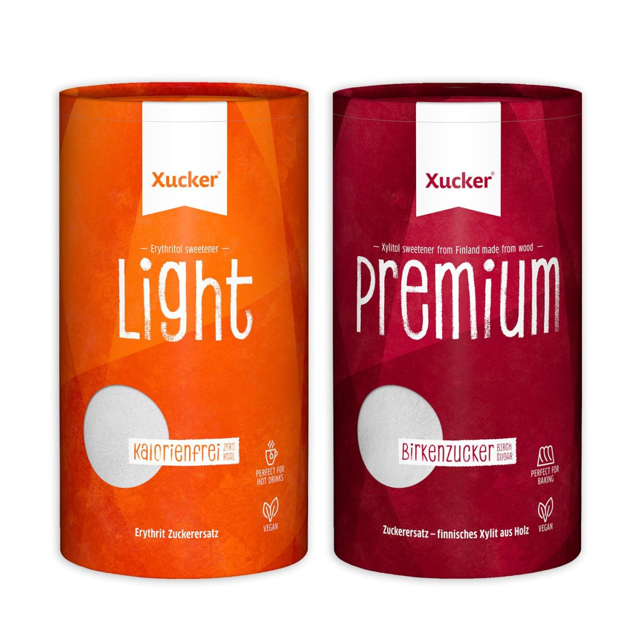 Xucker 2er-Set Dosen Premium (Xylit) & Light (Erythrit) von Xucker
