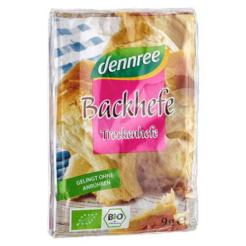 Dennree Bio Backhefe, Trockenhefe 6er Pack (6 x 27g) von dennree